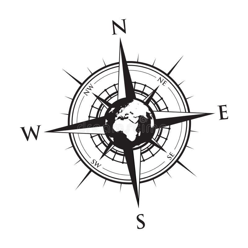 Jordklot på en kompass vektor illustrationer