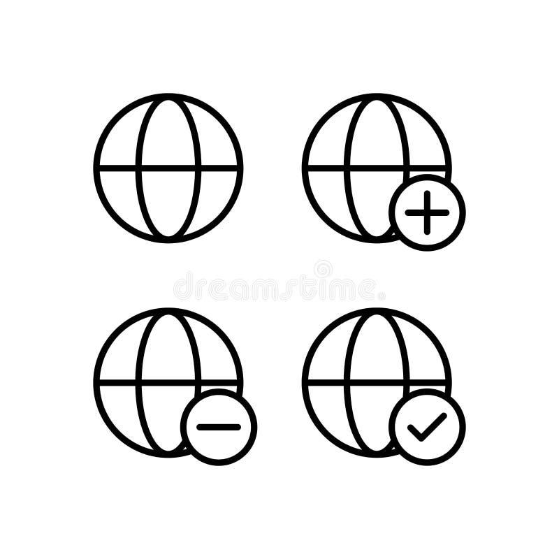 jordklot plus, kontroll, negativ teckensymboler Beståndsdel av översiktsknappsymboler Tunn linje symbol för websitedesignen och u royaltyfri illustrationer