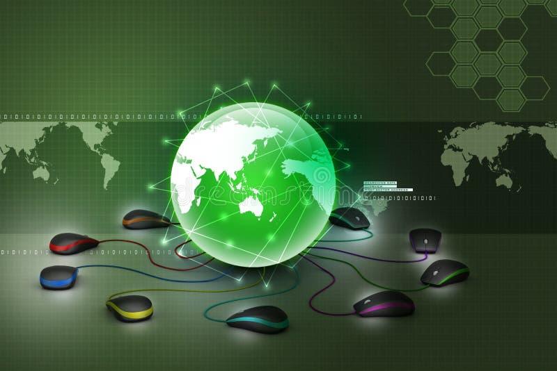 Jordklot som förbinder med datormusen royaltyfri illustrationer