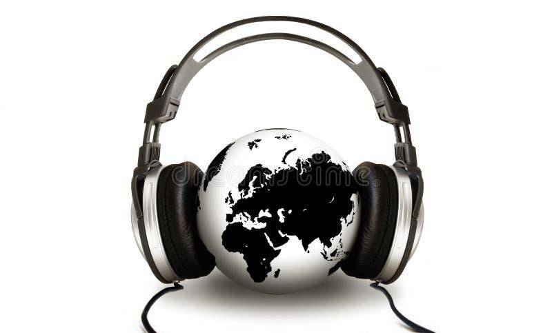 jordklot som lyssnar stock illustrationer