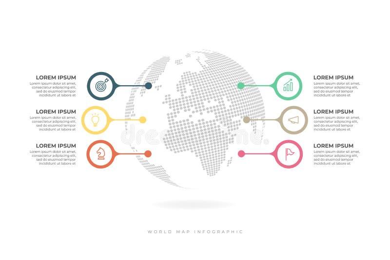 Jordklot som omges av 6 färgrika beståndsdelar med stället för text Minsta infographic designorientering vektor illustrationer