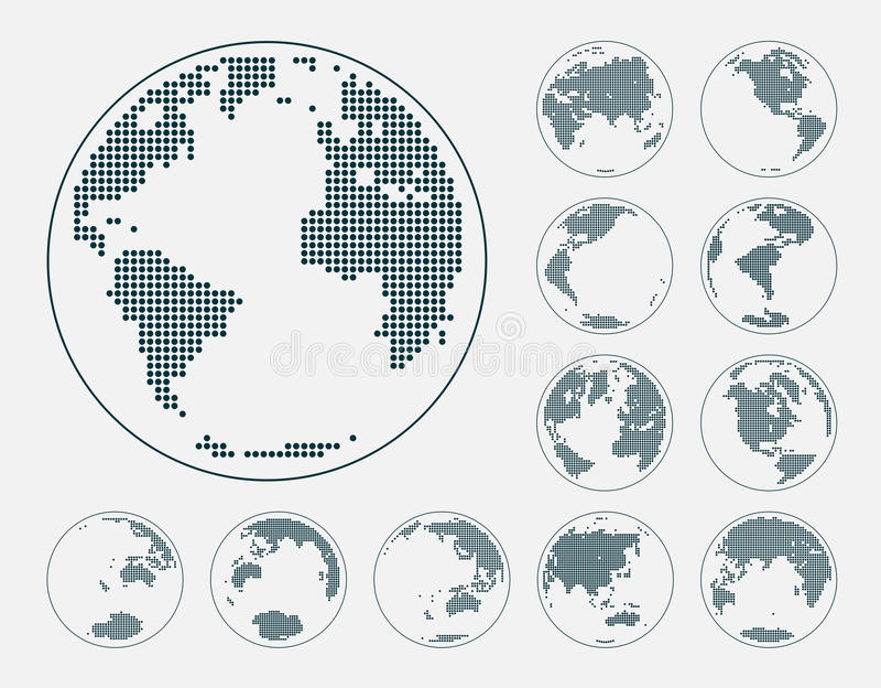Jordklot som visar jord med alla kontinenter Prickig världsjordklotvektor vektor illustrationer