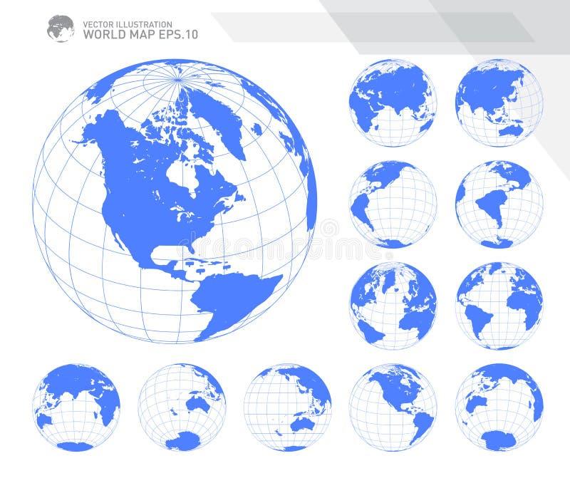 Jordklot som visar jord med alla kontinenter Vektor för Digital världsjordklot Prickig världskartavektor vektor illustrationer