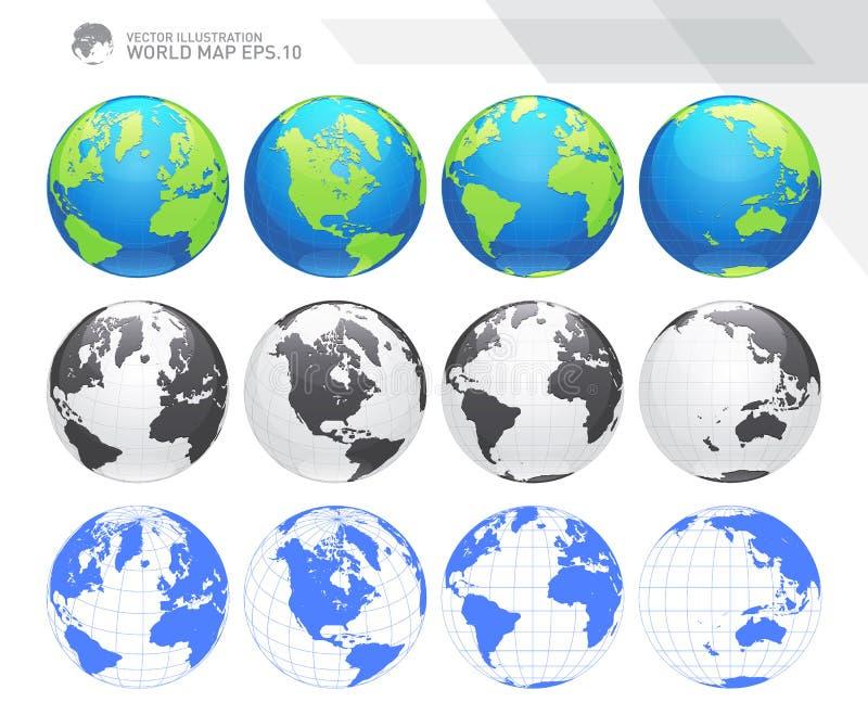 Jordklot som visar jord med alla kontinenter Vektor för Digital världsjordklot Prickig världskartavektor stock illustrationer