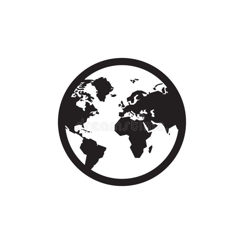 Jordklot - svart symbol på den vita bakgrundsvektorillustrationen för websiten, mobil applikation, presentation som är infographi stock illustrationer