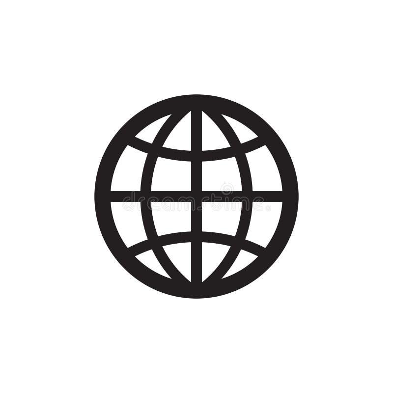 Jordklot - svart symbol på den vita bakgrundsvektorillustrationen Tecken för jordplanetbegrepp Abstrakt världssymbol planlägg dia vektor illustrationer