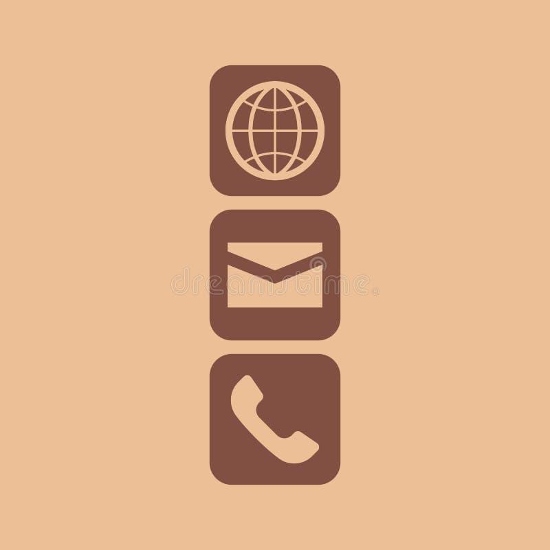 Jordklotemail- och telefonsymbol vektor illustrationer