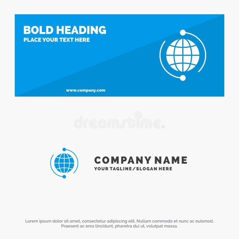 Jordklotet affär, förbinder, anslutning, globalt, internet, för symbolsWebsite för värld det fasta banret och affären Logo Templa stock illustrationer