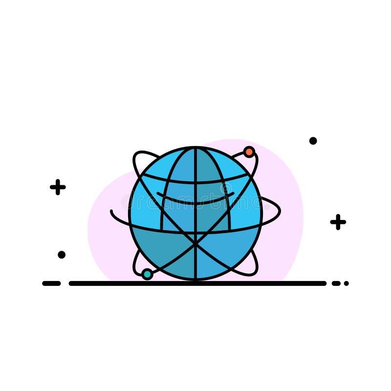 Jordklotet affären, data som var globala, internet, resurser, plan linje för världsaffär, fyllde mallen för symbolsvektorbanret vektor illustrationer