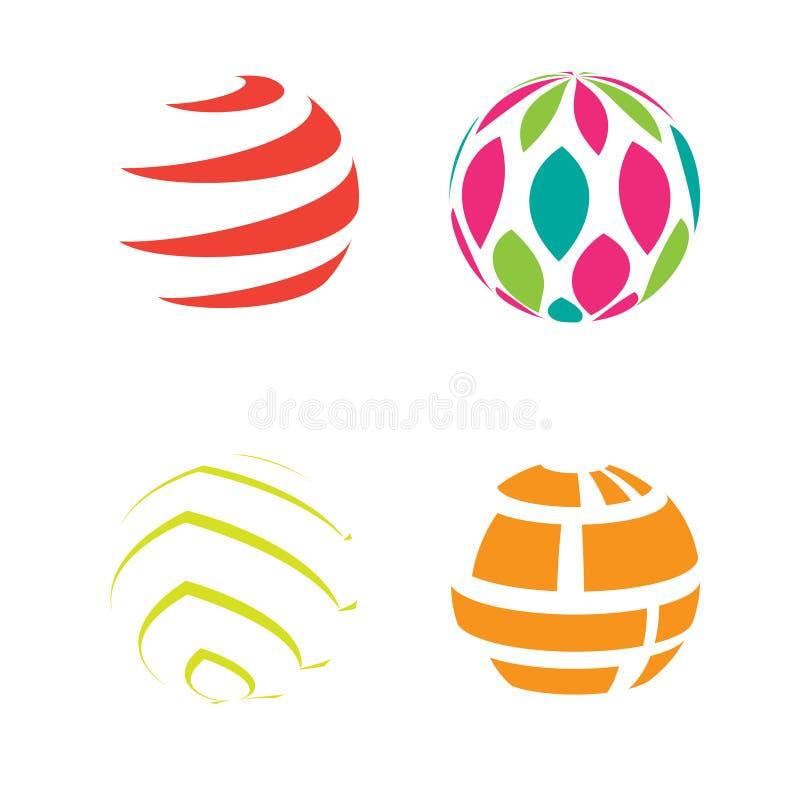 Jordklotet för logosymbolssfären formar geometriskt rundaabstrakt begrepp stock illustrationer