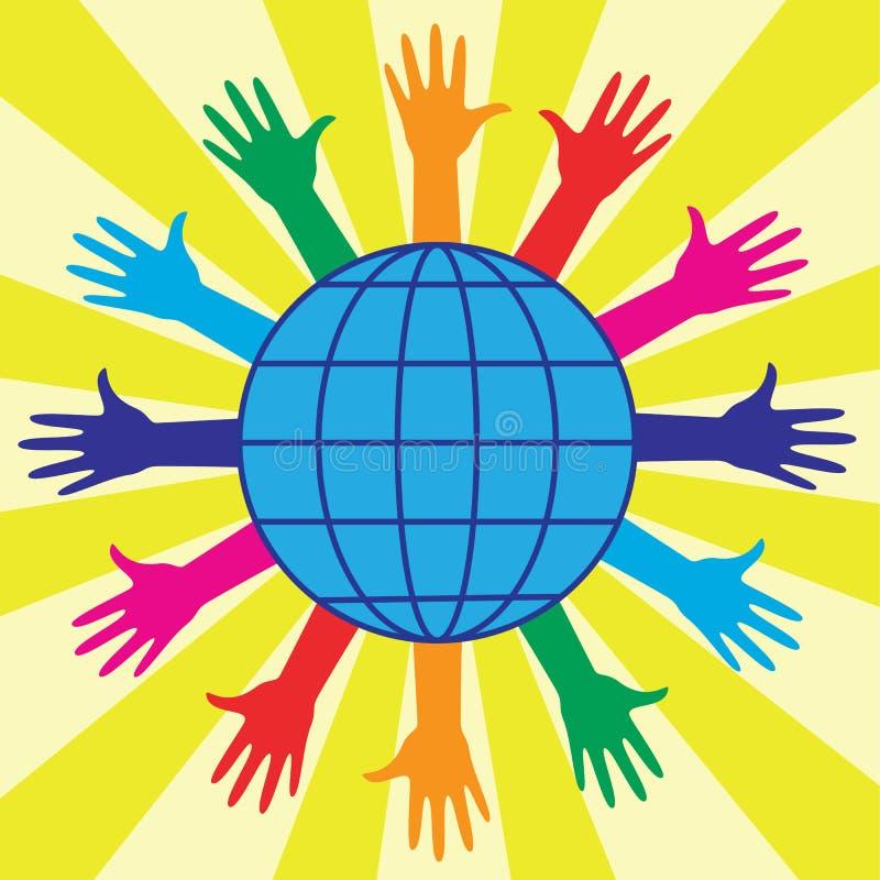 jordklotet hands världen royaltyfri illustrationer