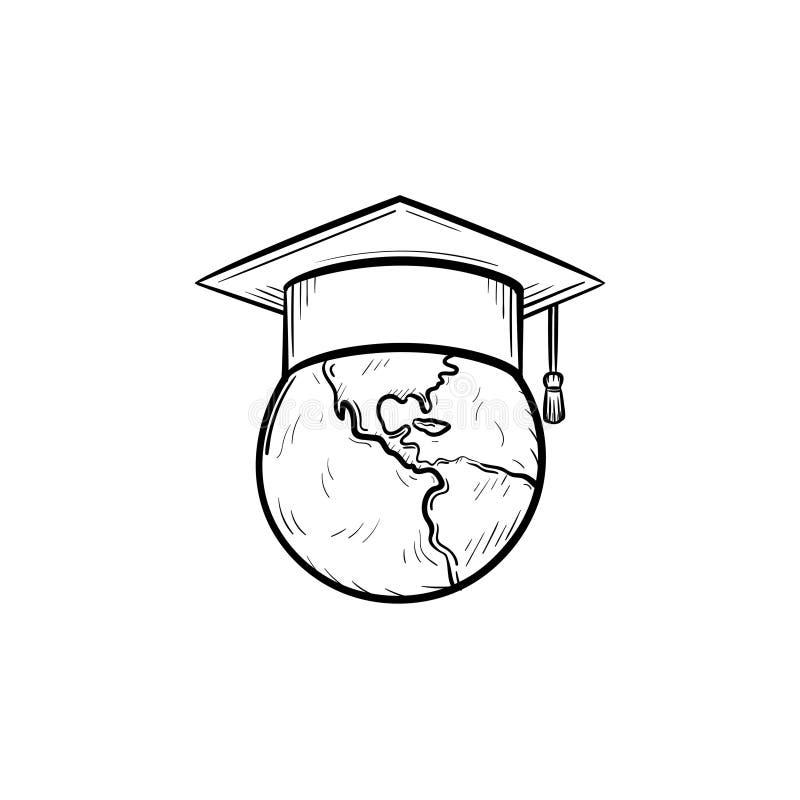 Jordklotet i den drog avläggande av examenlockhanden skissar symbolen vektor illustrationer