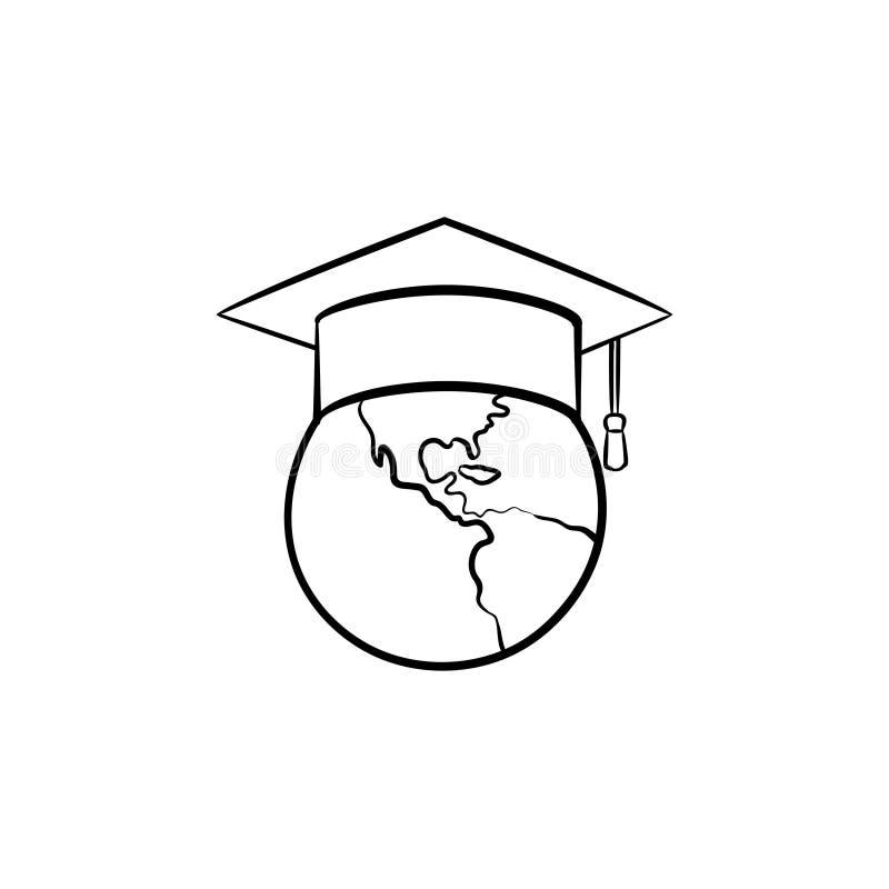 Jordklotet i den drog avläggande av examenlockhanden skissar symbolen stock illustrationer