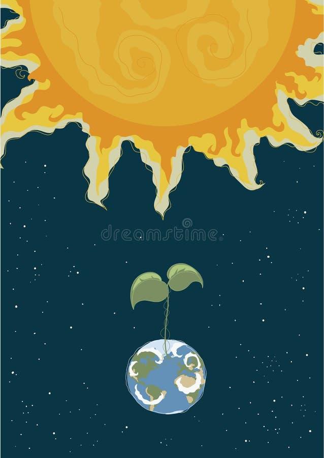 jordklotgreengrodd stock illustrationer