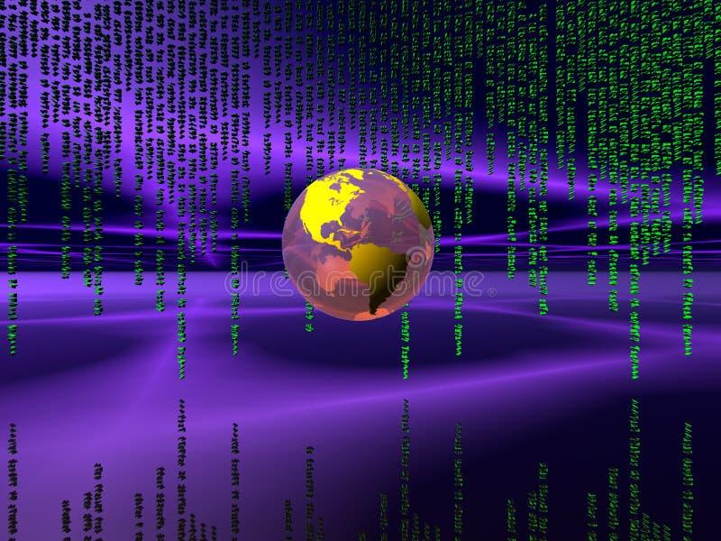jordklotinternet för binär kod över världen stock illustrationer