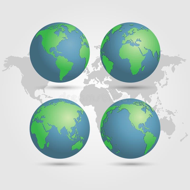 Jordklotjord med världskartavektorn royaltyfri illustrationer
