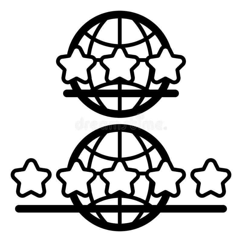 Jordklotjordsymbol som isoleras på den vita bakgrundsvektorillustrationen Service för tre stjärnor och för fem stjärnor stock illustrationer