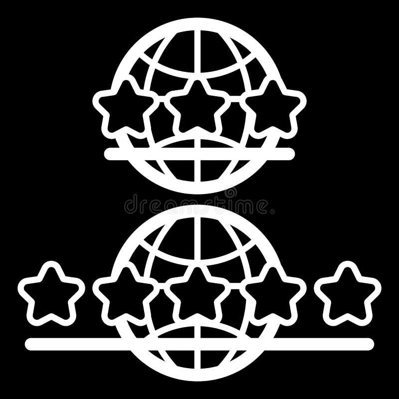 Jordklotjordsymbol som isoleras på svart bakgrundsvektorillustration Service för tre stjärnor och för fem stjärnor vektor illustrationer