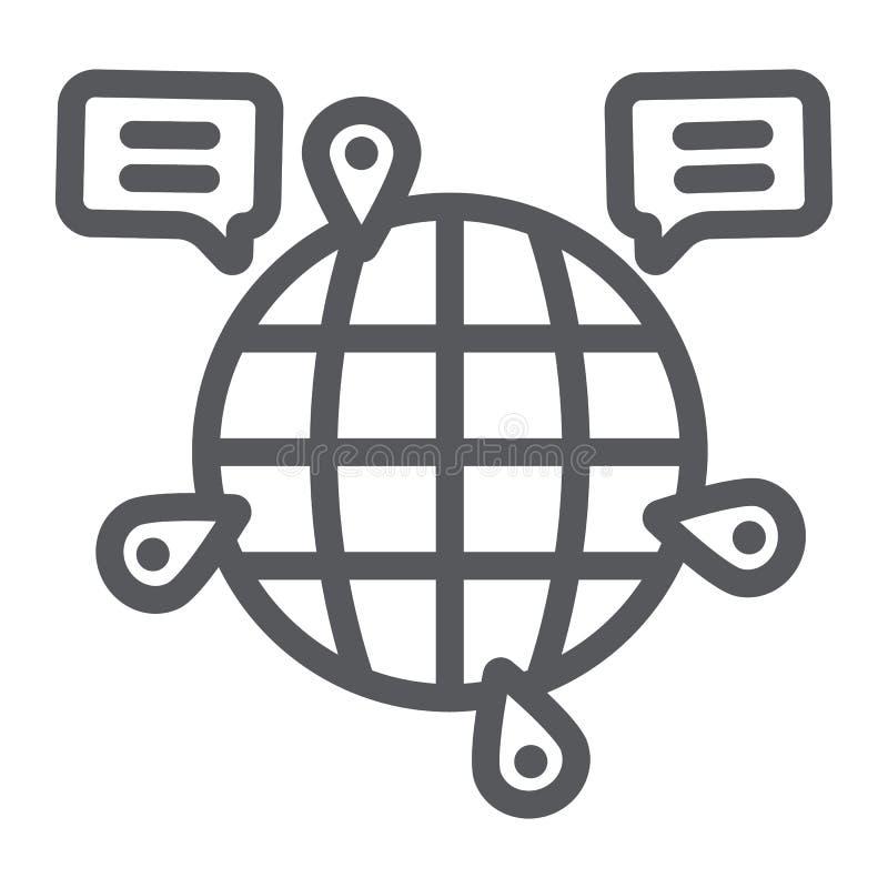 Jordklotkommunikationslinje symbol, internet och anslutning, globalt pratstundtecken, vektordiagram, en linjär modell på ett vitt vektor illustrationer