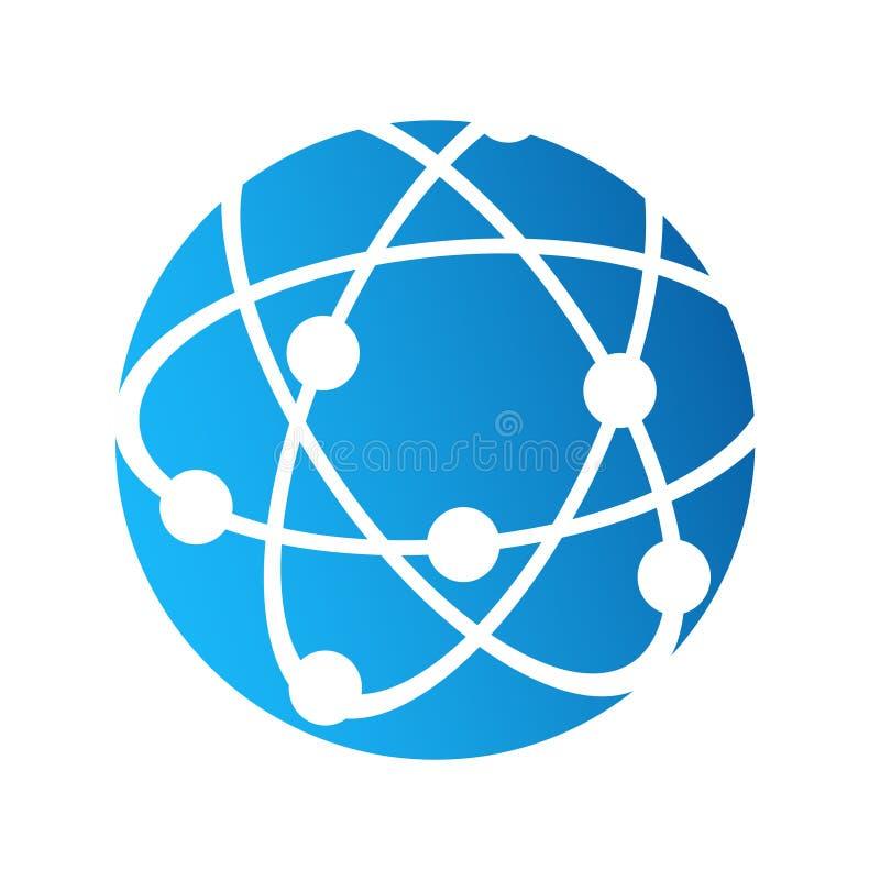 Jordklotlogosymbol, internetuppkopplingkommunikationsbegrepp, stoc royaltyfri illustrationer