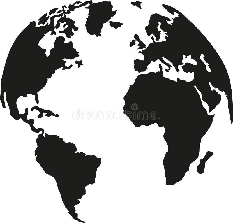 Jordklotplanetjord med konturn av kontinenterna vektor illustrationer