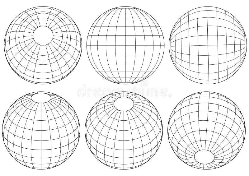 jordklotrastervektor vektor illustrationer