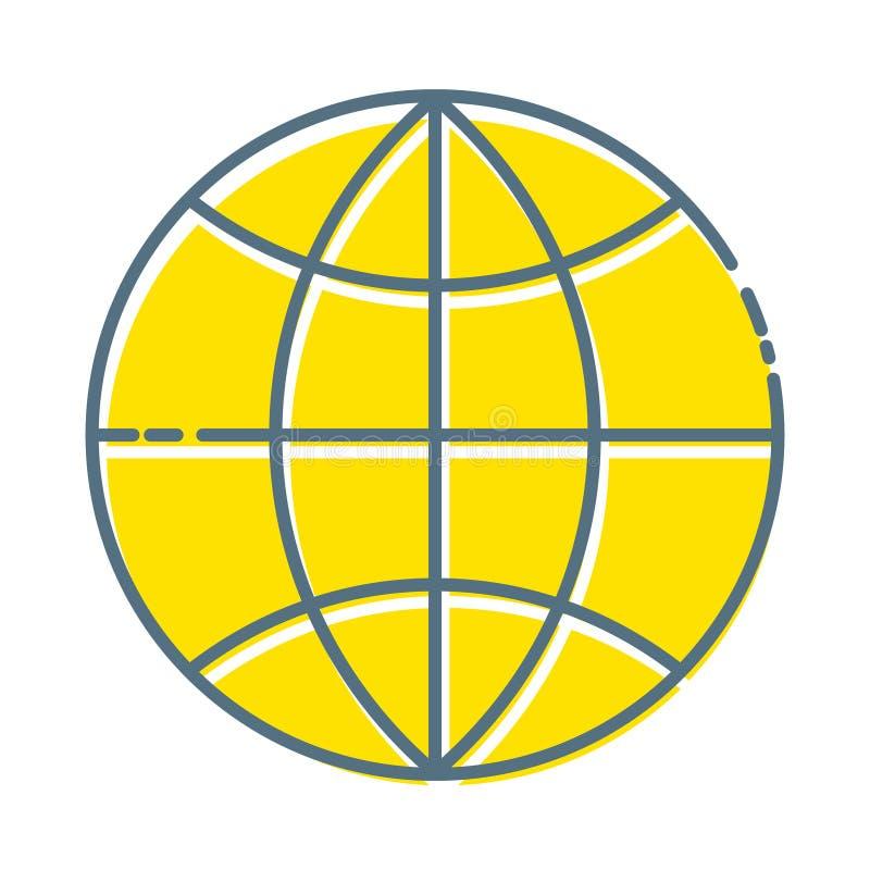 Jordklotsymbol i moderiktig plan stil som isoleras p? vit bakgrund V?rldsjordklotsymbol f?r din webbplatsdesign, logo, app, UI royaltyfri illustrationer