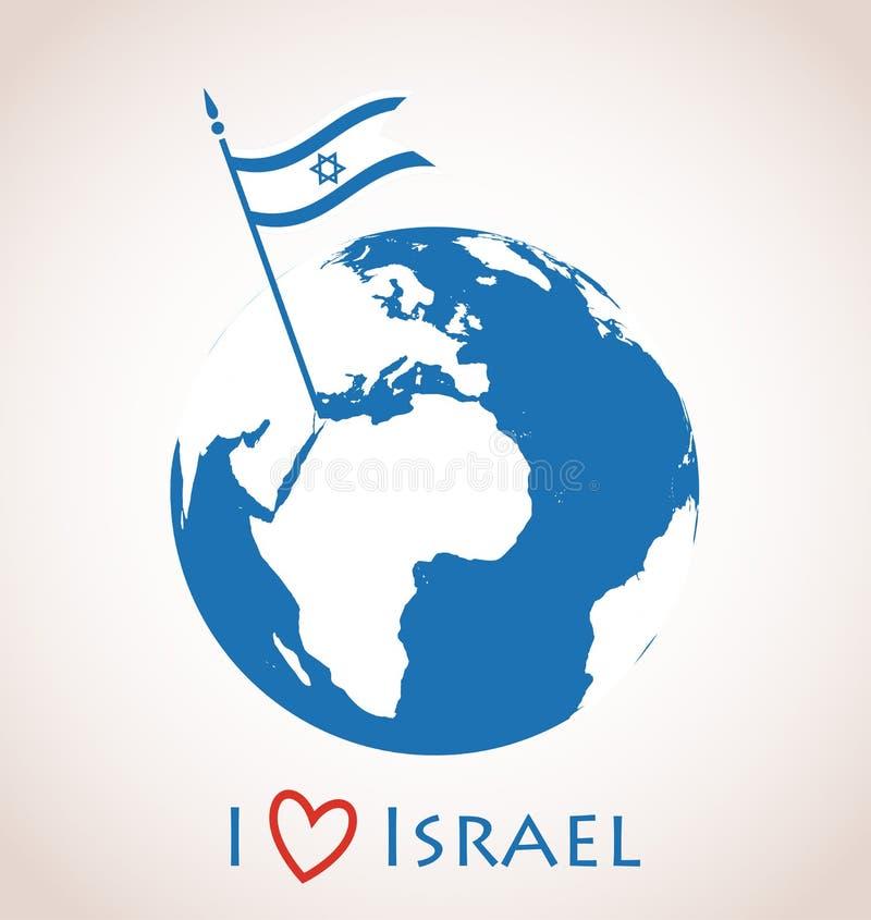 Jordklotsymbol med den Israel flaggan stock illustrationer