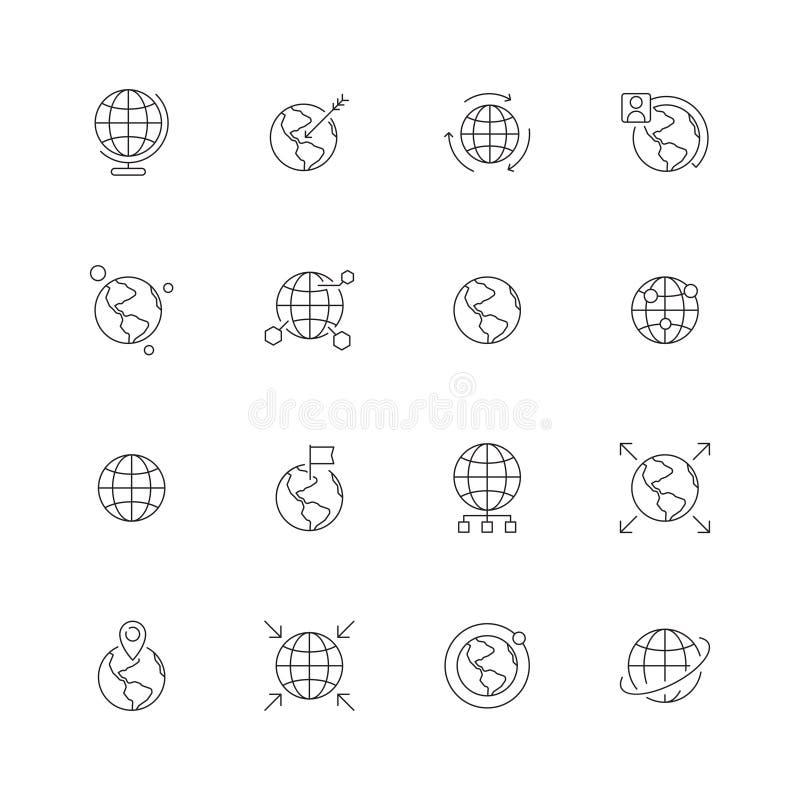Jordklotsymbol Värld - breda översiktsnavigeringpunkter jordar en kontakt den internationella linjen symboler för vektorn för fla royaltyfri illustrationer