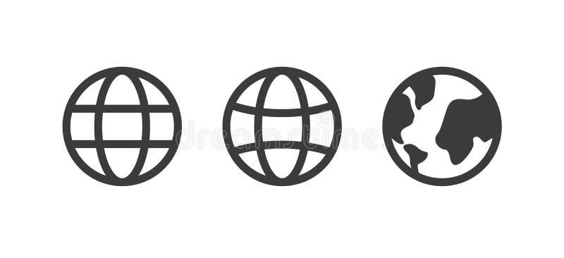 Jordklotsymbol, världsvektortecken, jorduppsättning, samling Internetbegrepp, översiktstecken som isoleras på den vita plana desi stock illustrationer