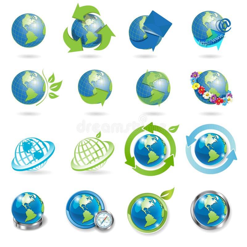 jordklotsymboler royaltyfri illustrationer