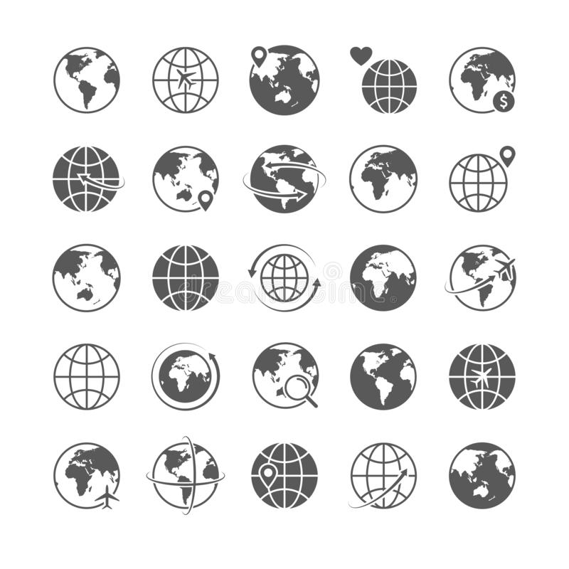 Jordklotsymboler ställde in linjen symbolsturismvektor för marknadsföringen för komrets för internet för symboler för konturn för royaltyfri illustrationer