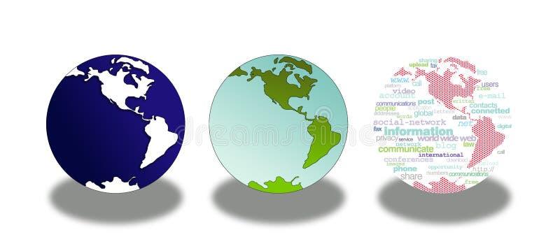 jordklotsymbolsvärld royaltyfri illustrationer
