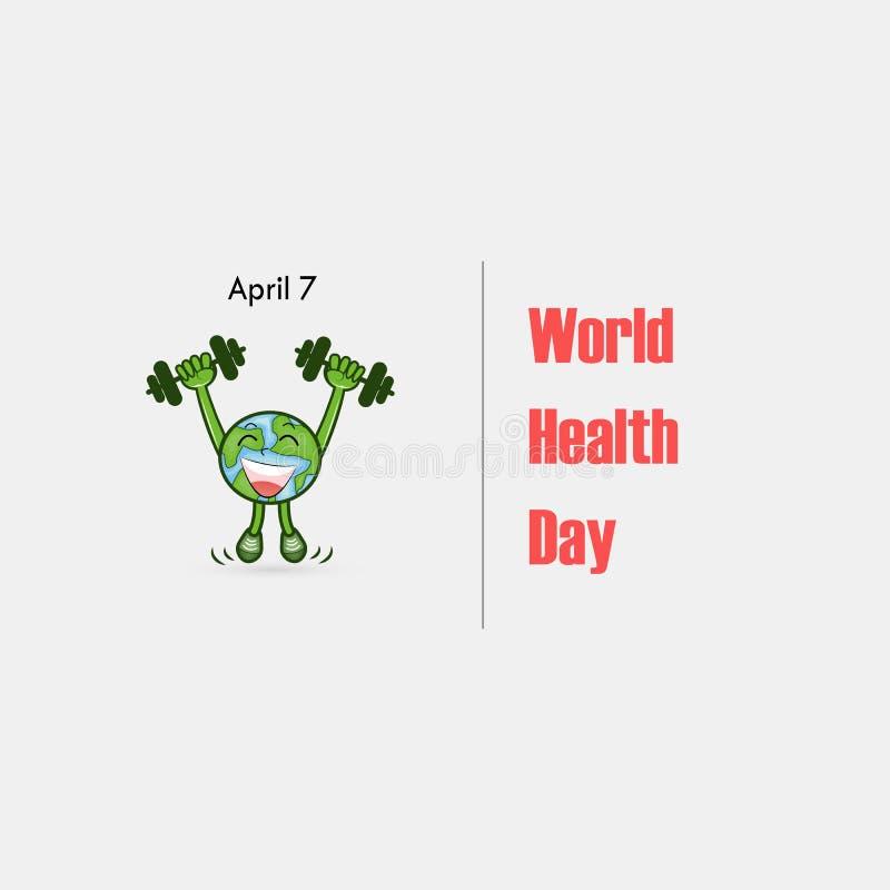 Jordklottecken och hantelvektorlogo Symbol för dag för världshälsa Tecken för maskot för tecknad film för dag för världshälsa Akt stock illustrationer