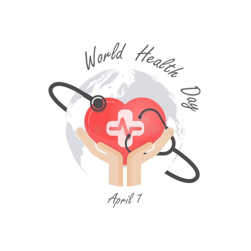 Jordklottecknet, den mänskliga handen och stetoskopsymbolen med hjärta formar vect stock illustrationer