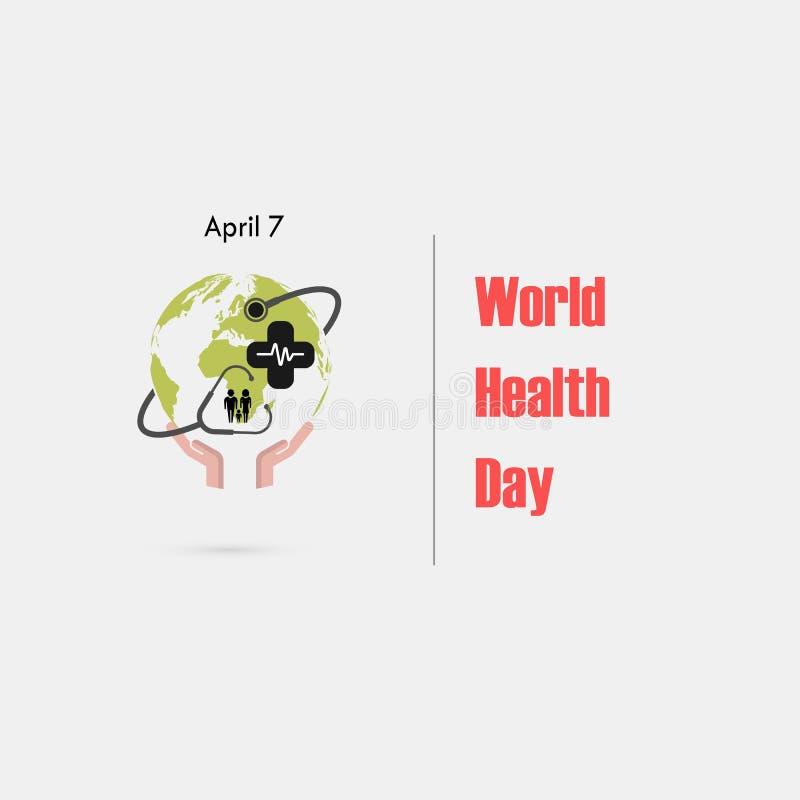 Jordklottecknet, den mänskliga handen och stetoskopvektorlogoen planlägger mallen Symbol för dag för världshälsa Begrepp för akti royaltyfri illustrationer