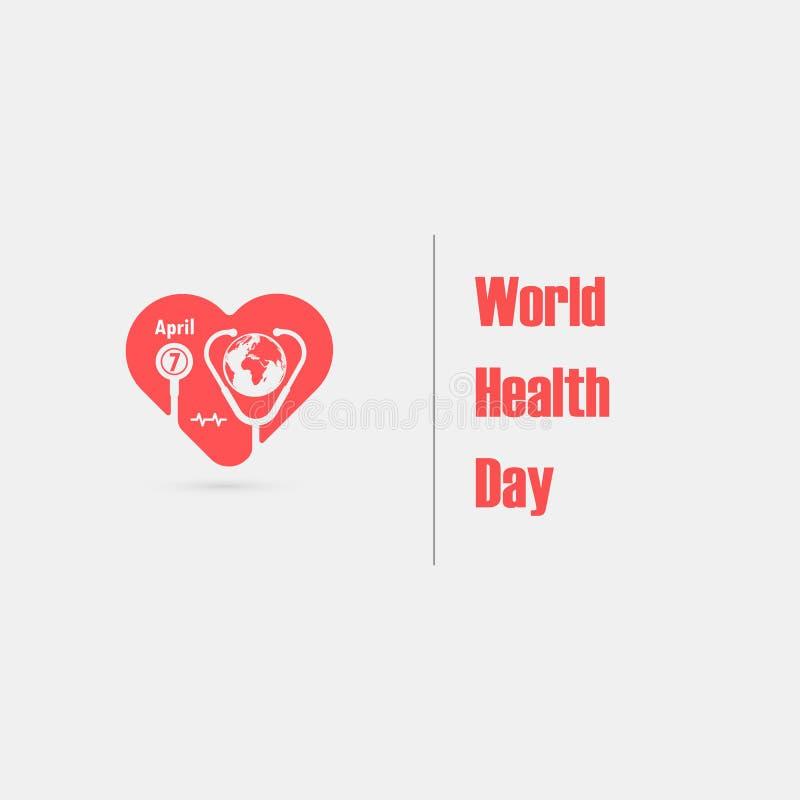 Jordklottecknet och stetoskopsymbolen med logo för hjärtaformvektor planlägger mallen Symbol för dag för världshälsa Aktion för i stock illustrationer