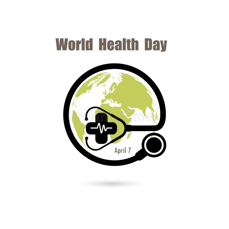 Jordklottecknet och stetoskopvektorlogoen planlägger mallen Symbol för dag för världshälsa Begrepp för aktion för idé för dag för vektor illustrationer