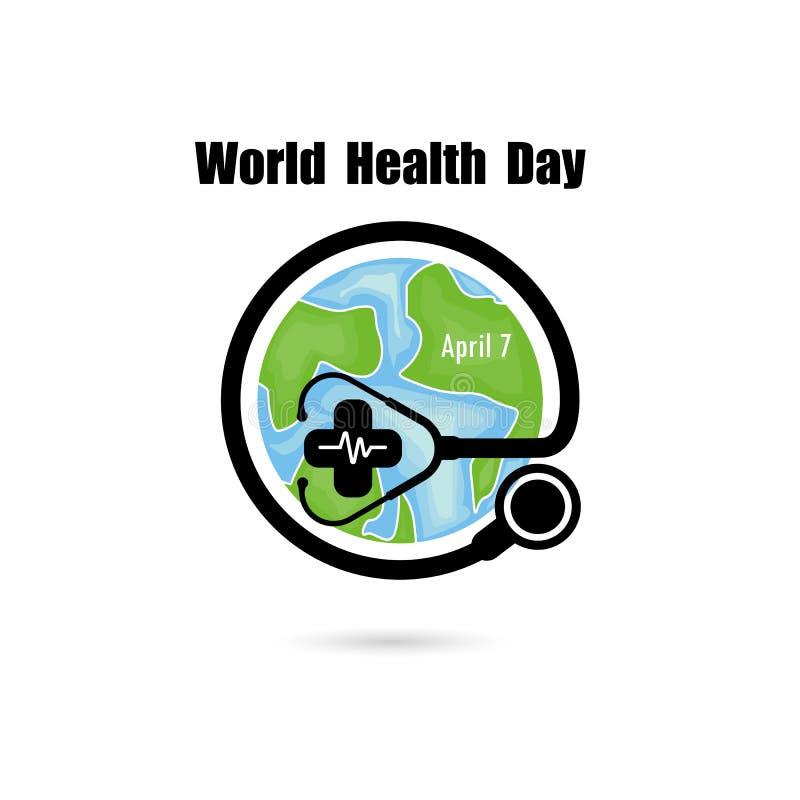 Jordklottecknet och stetoskopvektorlogoen planlägger mallen Symbol för dag för världshälsa Begrepp för aktion för idé för dag för stock illustrationer