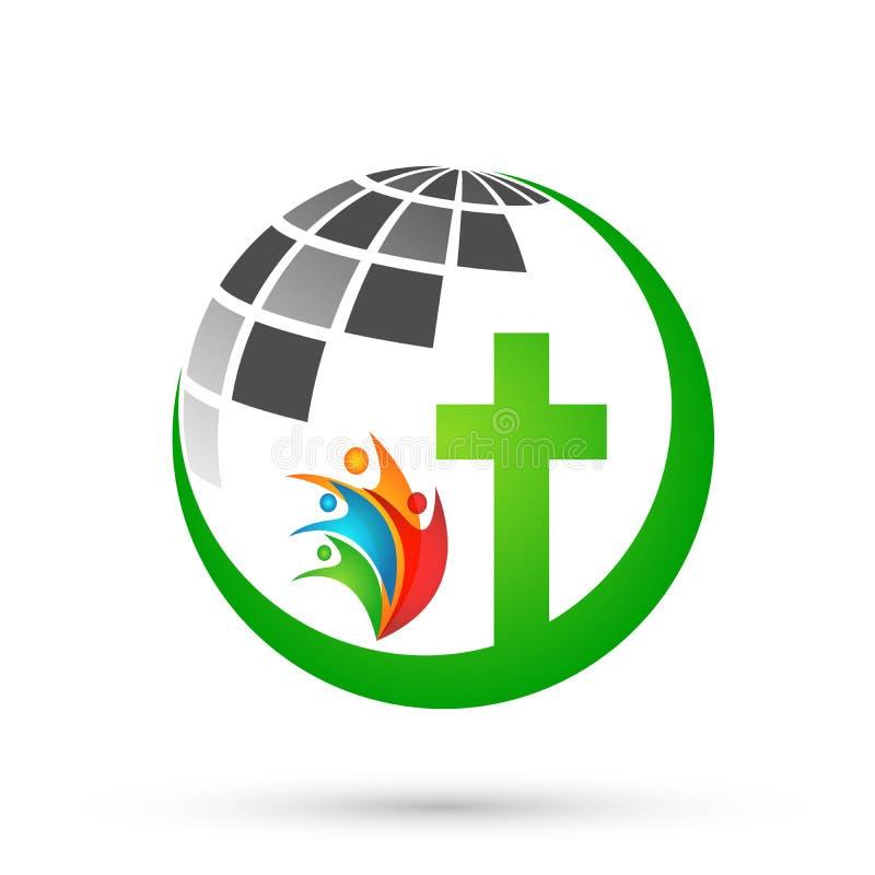 Jordklotvärld med vektorn för design för beståndsdel för symbol för logo för familj för folk för korsmaterielvektor den kyrkliga  royaltyfri illustrationer