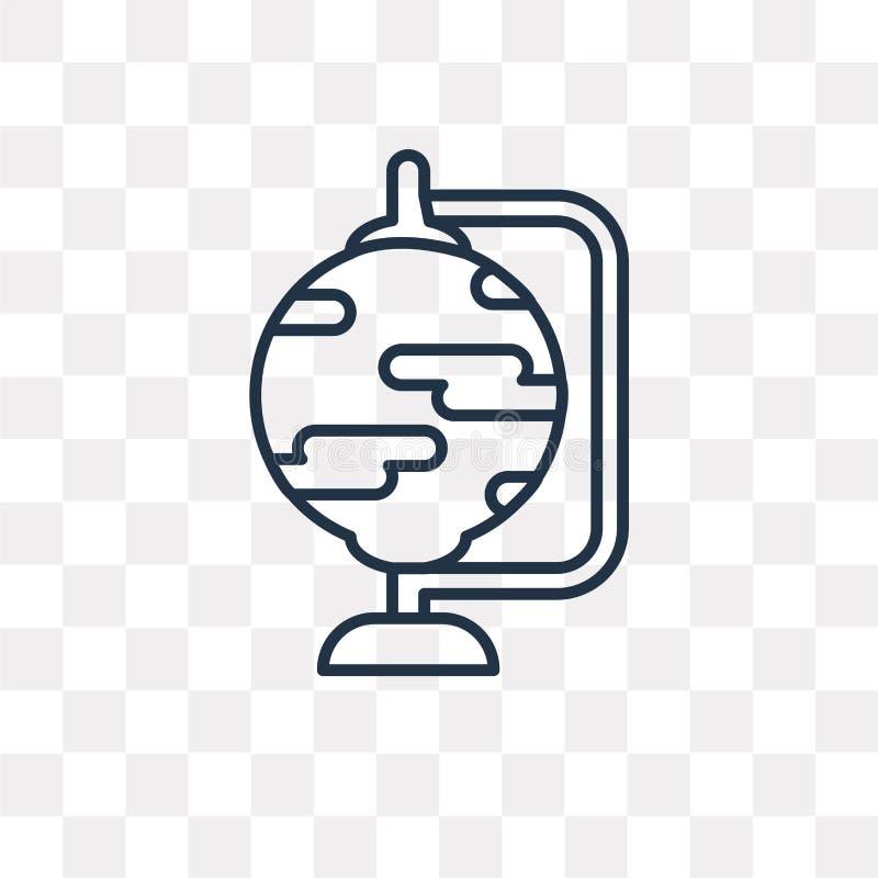 Jordklotvektorsymbol som isoleras på genomskinlig bakgrund, linjära Glo vektor illustrationer