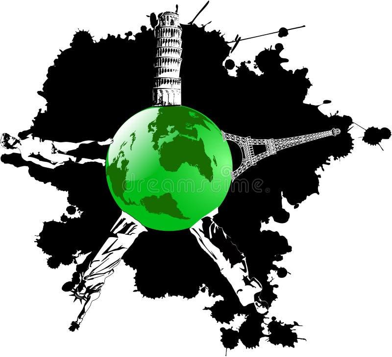 jordlandmarkswish vektor illustrationer