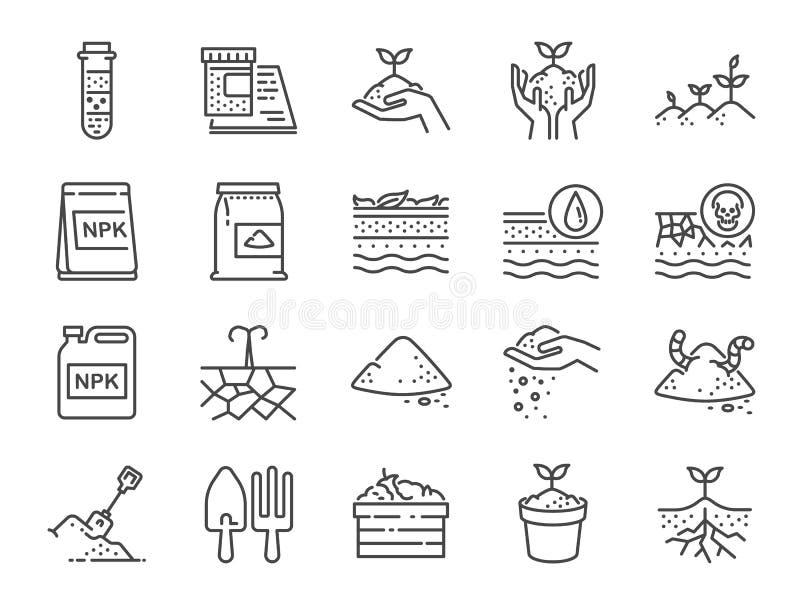 Jordlinje symbolsuppsättning Inkluderade symbolerna som jord, kompost, land, smuts, jordning och mer stock illustrationer