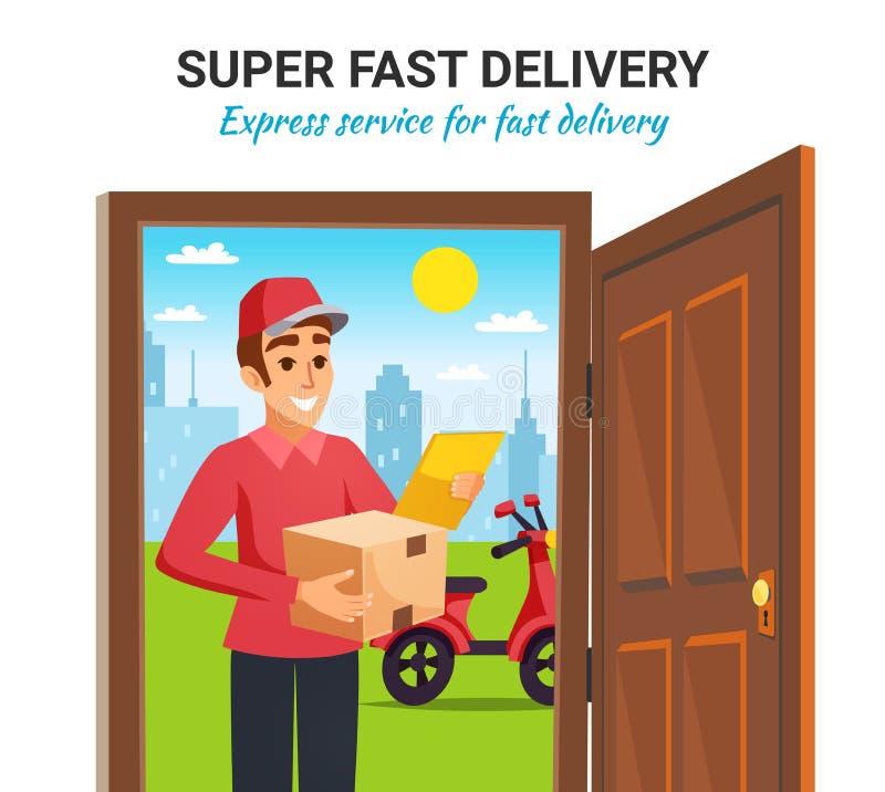 Jordlottmotorcykelkurir Delivery Illustration royaltyfri illustrationer
