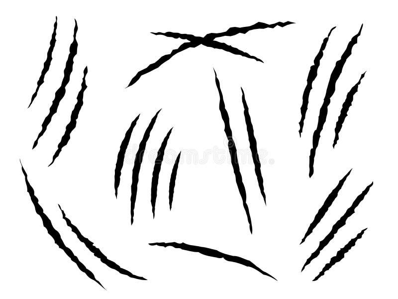 Jordluckrareskrapor Farliga eller tiger- och kattdjur för jordluckrare för fläckar, skrapar Skadade pappers- spår, farahalloween  royaltyfri illustrationer