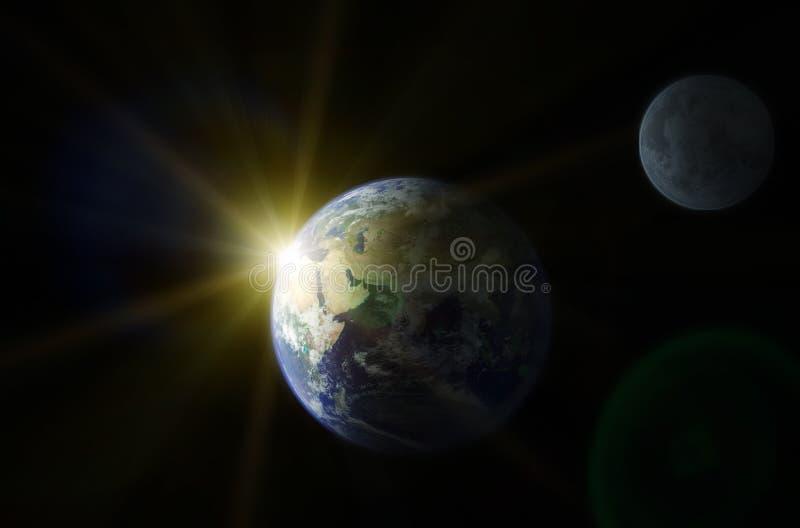 jordmoonplanet stock illustrationer