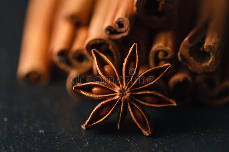 jordnötter för hasselnötter för kardemumma för mandelanisearom kryddar kanelbruna träsurface tappning royaltyfri foto