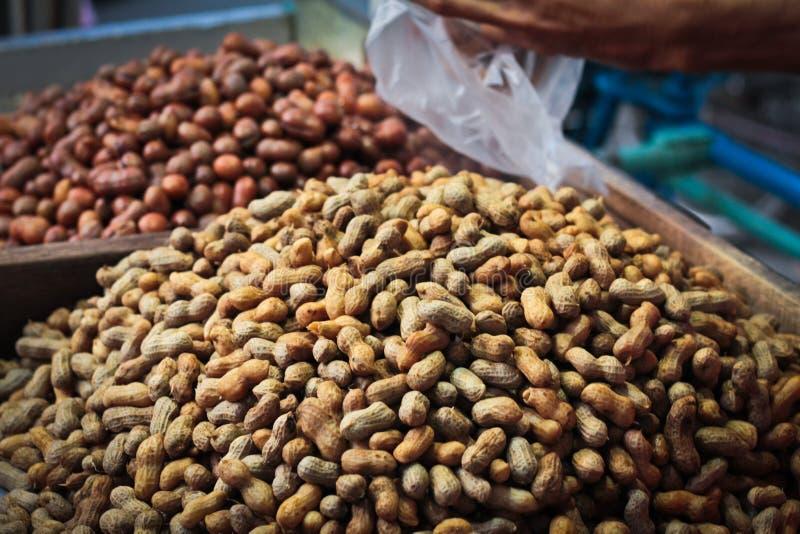 Jordnötter som är till salu i Medan, Sumatra, Indonesien royaltyfri bild