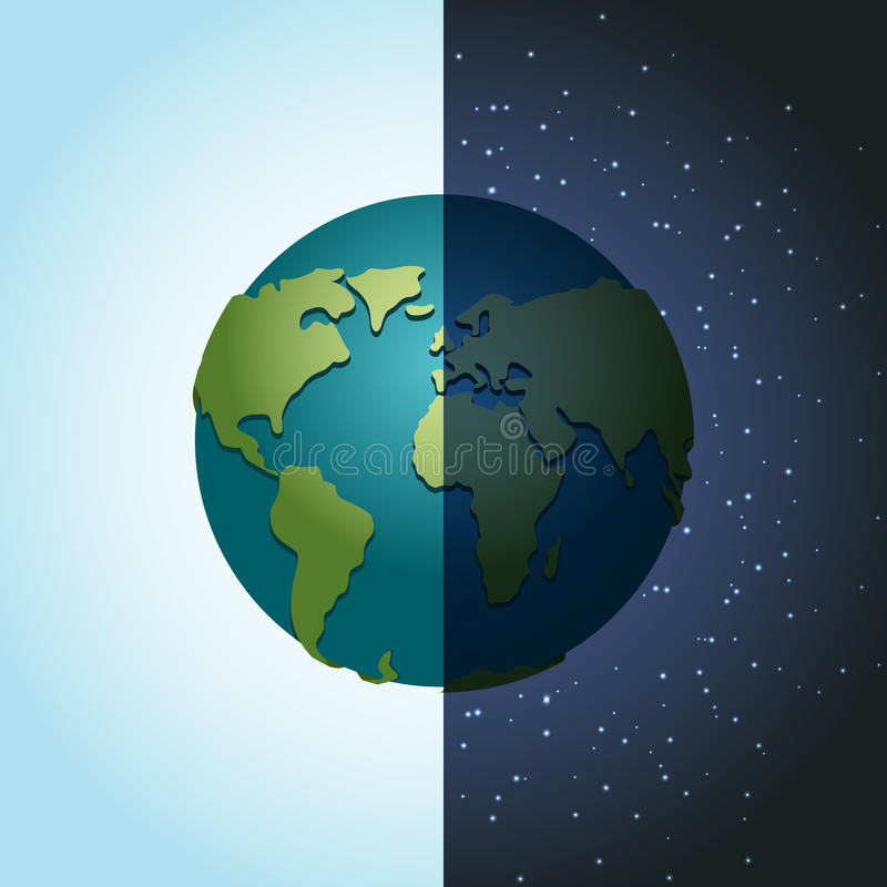 Jordnatt och dag nattetidplanet i utrymme Lott av stjärnor vektor illustrationer