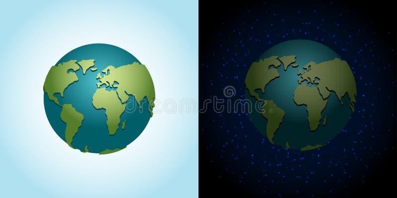 Jordnatt- och daguppsättning nattetidplanet i utrymme Lott av stjärnor stock illustrationer